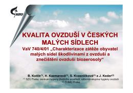 Kvalita ovzduší v českých malých sídlech