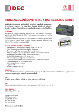 Přihláška na školení Programování PLC IDEC v pdf - REM
