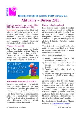 Aktuality – Duben 2015