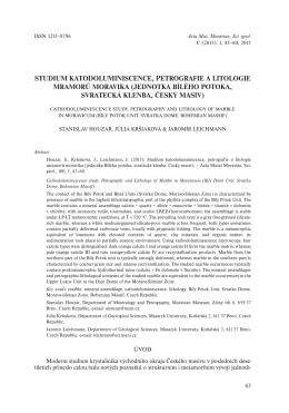 studium katodoluminiscence, petrografie a litologie mramorů moravika
