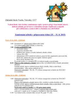 Plán přípravného týdne 2015 - Základní škola Vsetín, Trávníky 1217