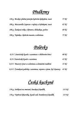 Předkrmy Polévky Česká kuchyně