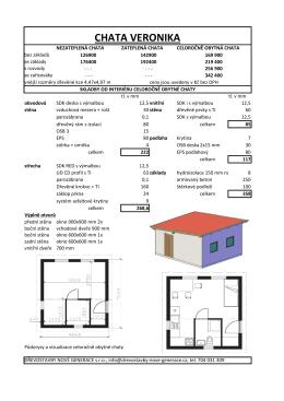 Katalog přízemní chaty VERONIKA s cenami a doplňky si můžete