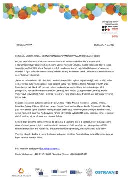 TISKOVÁ ZPRÁVA OSTRAVA, 7. 9. 2015 ČERVENÁ, MODRÁ FIALA