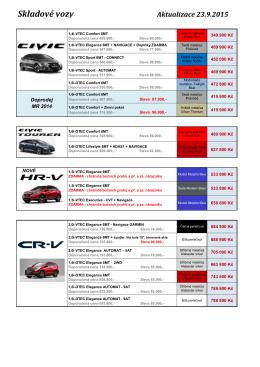 Nabídka skladových vozů