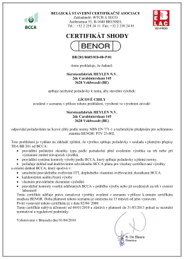EC – Certifikát o podnikové výrobní kontrole