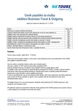 Ceník poplatků za služby oddělení Business Travel - OK