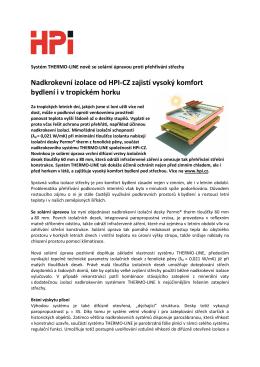 Nadkrokevní izolace od HPI-CZ zajistí vysoký komfort bydlení i v