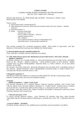 Zápis č. 7/2015 z veřejného zasedání zastupitelstva obce Mezouň