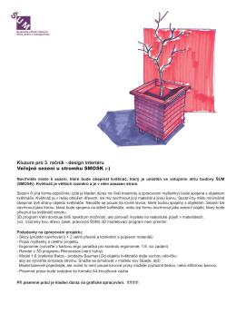 Kluzura pro 3. ročník - design interiéru Veřejné sezení u