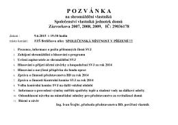P O Z V Á N K A - BD Zázvorkova 2007, 2008, 2009