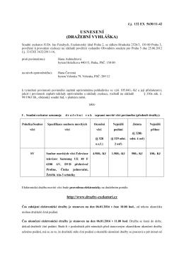 usnesení (dražební vyhláška) - JUDr. Jan Fendrych, soudní exekutor
