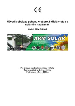 Návod - Moveto ARM SOLAR pro 2 křídlá vrata