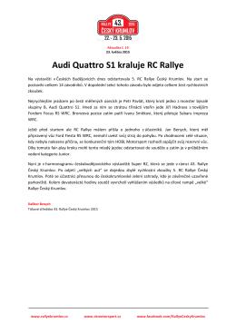 Aktualita 19: Audi Quattro S1 kraluje RC Rallye
