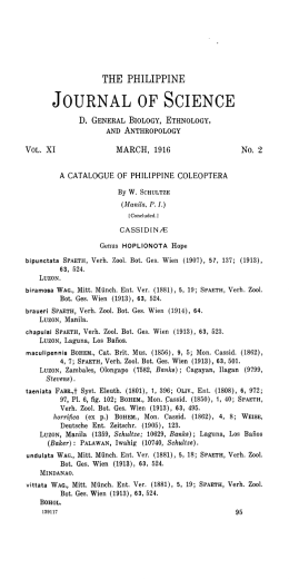 A catalogue of Philippine Coleoptera