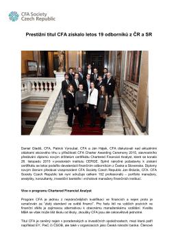 Prestižní titul CFA získalo letos 19 odborníků z ČR a SR