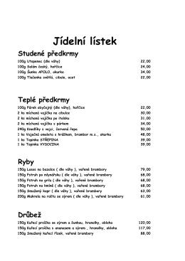 stálá nabídka - Penzion Lucerna