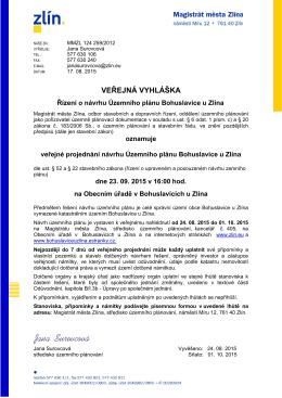 Veřejná vyhláška - řízení ÚP Bohuslavice u Zlína
