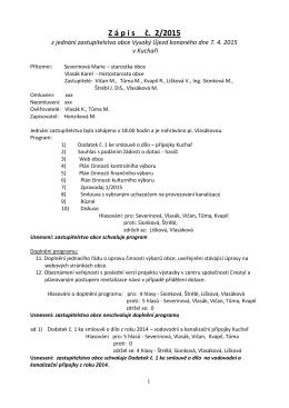 Zápis z veřejného zasedání č. 2/2015 dne 7.4.2015 v Kuchaři