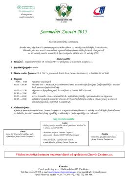 Sommeliér Znovín 2015 - propozice + přihláška
