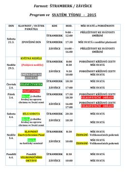 Farnost: ŠTRAMBERK / ZÁVIŠICE Program ve SVATÉM TÝDNU