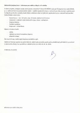 jazykový kurz žáci - 8.B ZŠ Jungmannovy sady