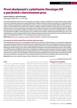 První zkušenosti s vyšetřením Oncotype DX u pacientek