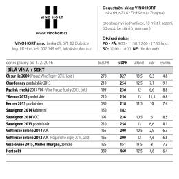 VINO HORT ceník - Vinařství VINO HORT