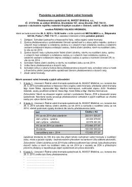 Pozvánka na jednání řádné valné hromady konané 26.5.2015