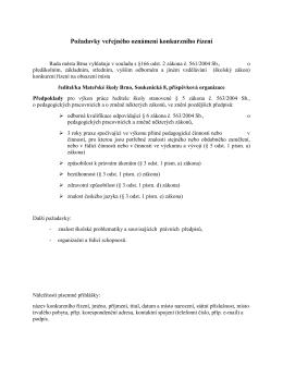 Konkurzní řízení na ředitele/ku Mateřské školy Brno, Soukenická 8