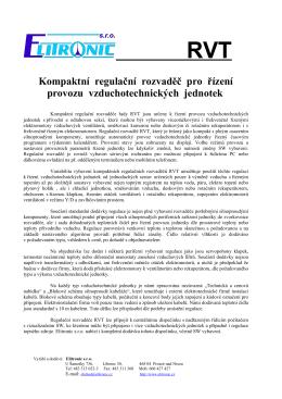 Kompaktní regulační rozvaděč pro řízení provozu