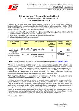 Informace o přijímacím řízení ()