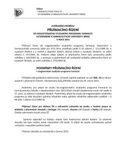 Zpráva o průběhu přijímacího řízení za rok 2015
