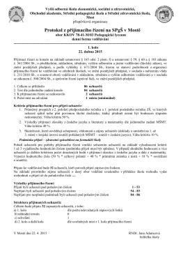 protokol k přijímacímu řízení