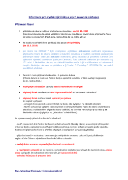 Informace pro vycházející žáky a jejich zákonné zástupce Přijímací