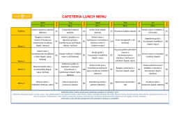 CAFETERIA LUNCH MENU