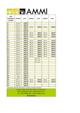 číslo katalogové položky velikost cena velikost cena velikost cena 1