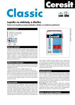 Technický list – Ceresit Classic Lepidlo na obklady a dlažbu