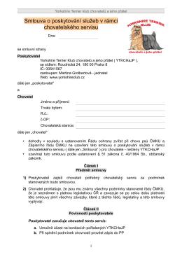 Smlouva o poskytování služeb v rámci chovatelského servisu