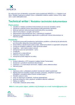 Technical writer / Redaktor technické dokumentace