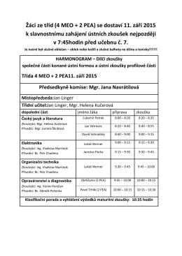 Žáci ze tříd (4 MEO + 2 PEA) se dostaví 11. září 2015 k slavnostnímu