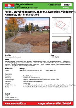 Prodej, stavební pozemek, 2530 m2, Kamenice
