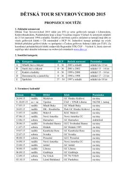 Propozice DTSV 2015 - Golf & Country Club Svobodné Hamry
