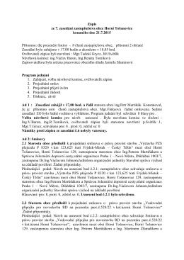 Zápis ze 7. zasedání zastupitelstva obce Horní Tošanovice