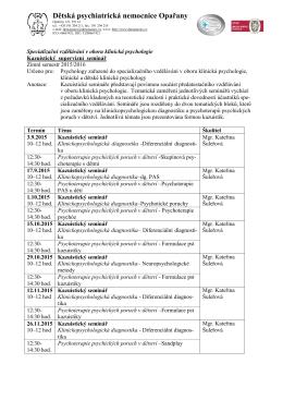 Termíny a témata seminářů. - Dětská psychiatrická nemocnice