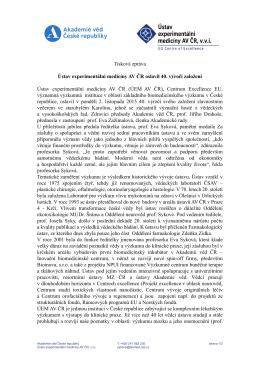 Tisková zpráva Ústav experimentální medicíny