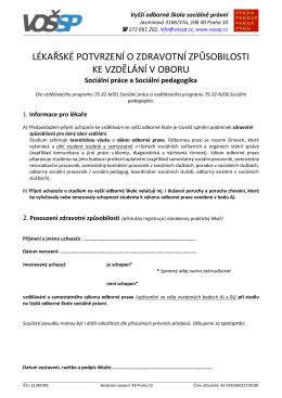 zde - VOŠSP – vyšší odborná škola sociálně právní v praze