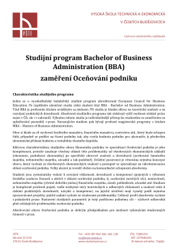 Studijní program Bachelor of Business Administration (BBA