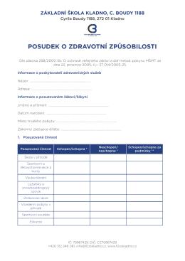 Posudek o zdravotní způsobilosti - Základní škola Kladno, C. Boudy