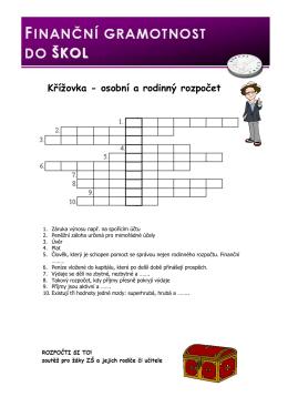 Křížovka - Finanční gramotnost do škol